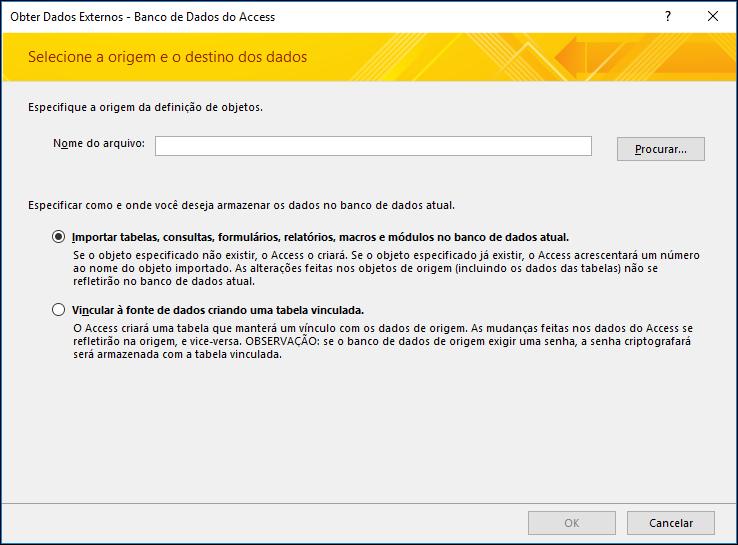 Captura de tela do assistente de importação Obter Dados Externos ‒ Banco de Dados