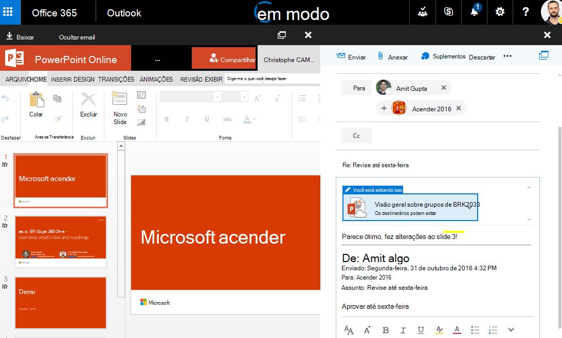 Captura de tela com anexos de email
