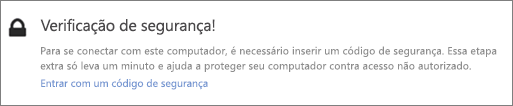 Exemplo de interface de usuário de notificação do código de verificação de solicitação de busca do OneDrive