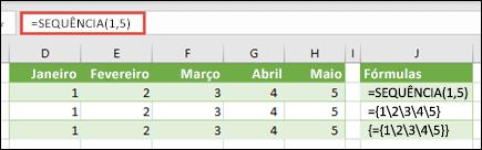 Crie uma constante de matriz horizontal com =SEQUÊNCIA(1;5) ou ={1;2;3;4;5}