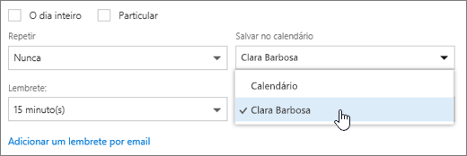 Uma captura de tela do menu Salvar no calendário.