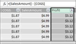 Coluna de lucro na tabela Power Pivot