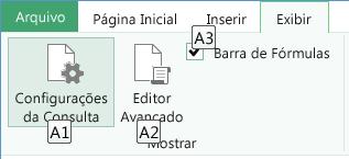 Dicas de Tecla da Faixa de Opções Editor de Consultas