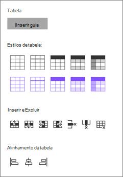 Inserir opções de tabela