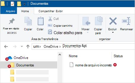 Explorador de arquivos mostrando o erro de sincronização do OneDrive