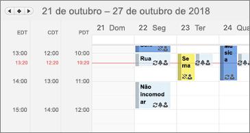 Calendário mostrando três fusos horários