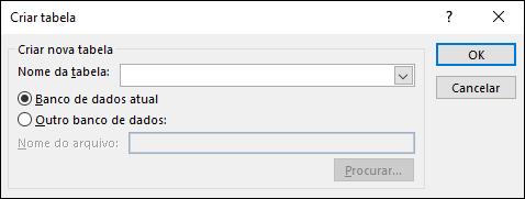 A caixa de diálogo Criar Tabela no Access permite selecionar opções para a sua consulta Criar Tabela.