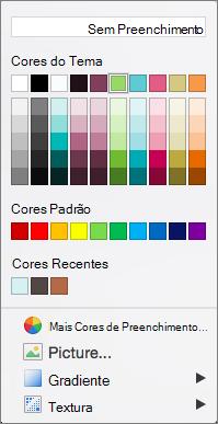 Opções de cor
