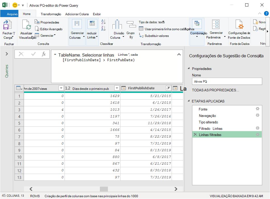 Editor do Power Query com dados carregados