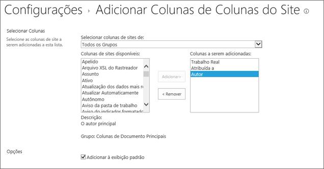 Adicionar uma página de coluna existente com 3 selecionado