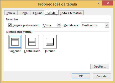 Guia de célula na caixa de diálogo Propriedades da tabela