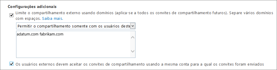 Configurações adicionais para limitar o compartilhamento externo no Office 365 SPO