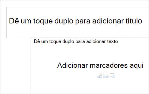 Imagem da caixa de título vazio e caixa de texto vazia para mostrar onde marcadores funcionarão.