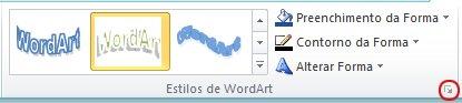 Iniciador da Caixa de Diálogo Estilos de WordArt