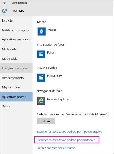 Captura de tela da configuração Escolha os aplicativos padrão por protocolo no Windows 10.