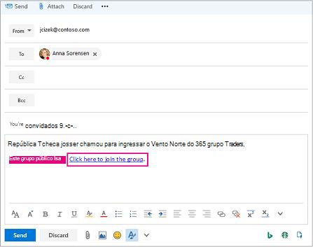 Enviar email com o link convidando usuário para ingressar em grupo