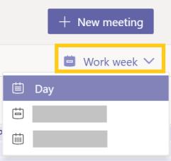 Imagem do menu modo de exibição Calendário realçando o modo de exibição Dia.