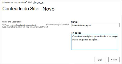 Nova caixa de diálogo de lista Adicionar nome e descrição