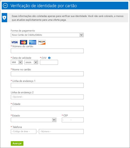 Captura de tela da seção Verificação de identidade por cartão da inscrição da assinatura do Azure, onde você fornece os detalhes do cartão de crédito ou débito e informações relacionadas, como endereço e telefone.