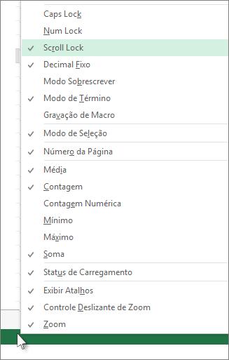 Clique com o botão direito do mouse na barra de status para personalizar