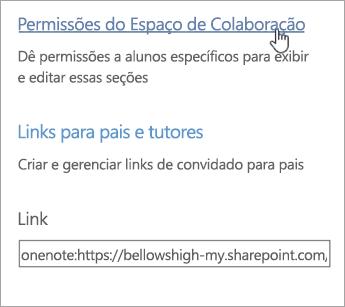 Link das permissões do Espaço de Colaboração dentro de Gerenciar Blocos de Anotações de Classe acima dos links de pais e responsáveis.