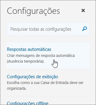 Captura de tela da tela Ajuda com a Resposta automática selecionada.