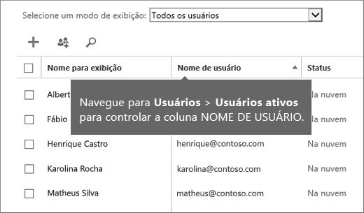 Coluna de Nome de Usuário no centro de administração do Office 365