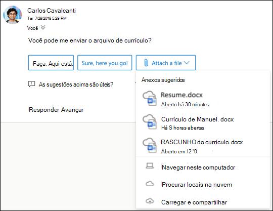 Anexando arquivos sugeridos no Outlook.