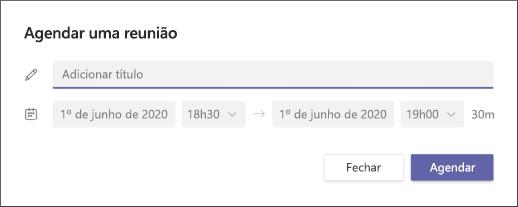 Agendar uma reunião na tela