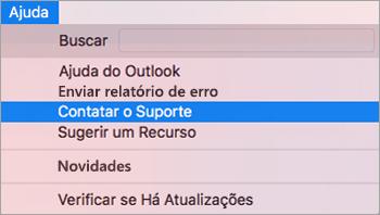 Mostra o menu de ajuda com a opção de suporte de contato