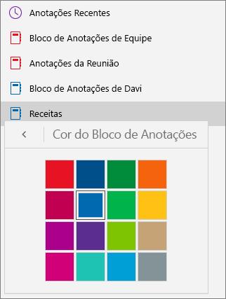 Mostra a paleta de cores do bloco de anotações