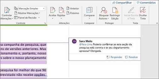 Recurso @menção no Word