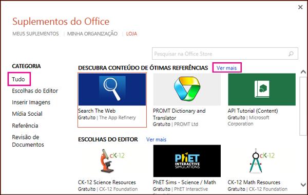 """Caixa de diálogo Suplementos do Office com os links """"Todos"""" e """"Ver mais"""" realçados"""
