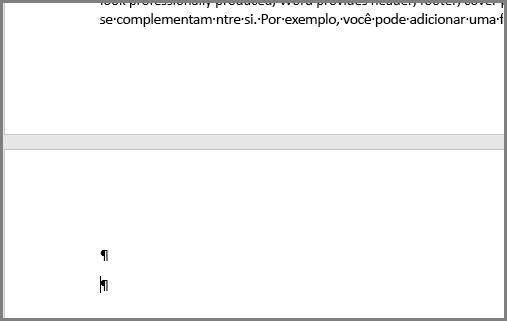 Parágrafos vazios na parte superior de uma página do Word
