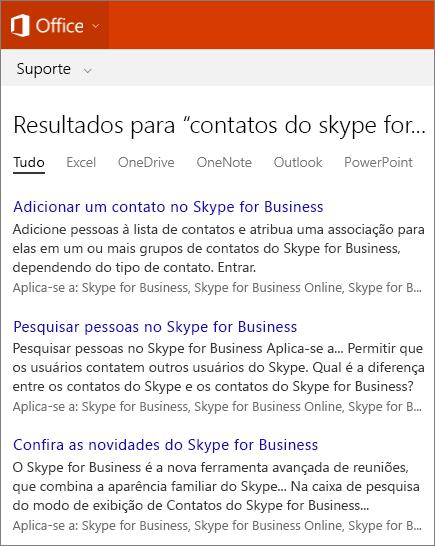 Captura de tela dos resultados de uma pesquisa de contatos do Skype for Business no site de Suporte do Office.