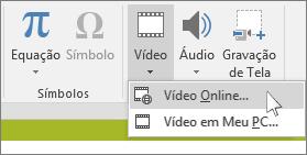 O botão na faixa de opções para inserir um vídeo online no PowerPoint