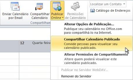 Comando Compartilhar Calendário Publicado na faixa de opções