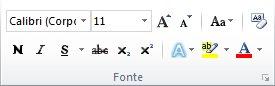 O grupo Fonte na guia Página Inicial na faixa de opções do Word 2010.