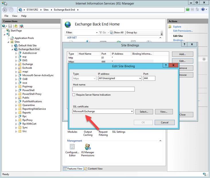 Verifique se o certificado SSL de ligação SSL para o site do Exchange Back-End no servidor de caixa de correio.