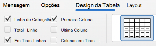 Guia Design da tabela no Outlook para Mac.
