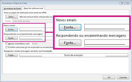 comando de fonte na caixa de diálogo de assinaturas e papel de carta