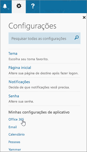 Painel de Configurações do Office 365