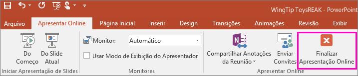 Mostra o botão Finalizar Apresentação Online no PowerPoint