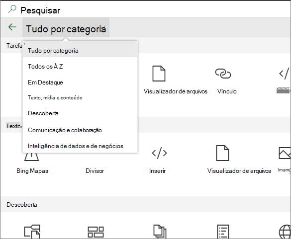 Caixa de ferramentas de Web Part expandida