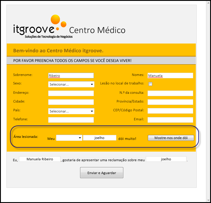 TI do Centro Medico Groove - Área dos Acidentados
