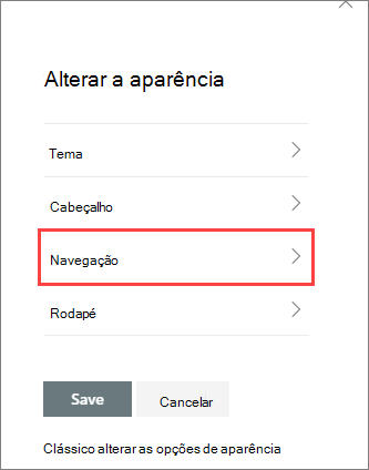Imagem do botão alterar as opções do painel de aparência