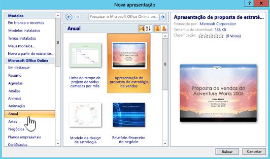 Seleção de modelo Online do Office