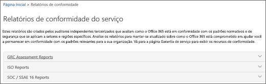 Mostra a página de garantia de Serviço: Relatórios de Conformidade do Serviço.