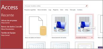 Modelo de acompanhamento de ativos na página inicial do Access