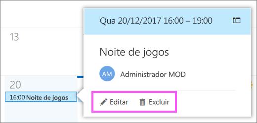 Uma captura de tela mostrando os botões Editar e excluir